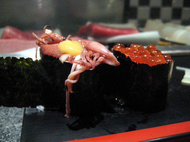 EF Tsukiji Fish Market, Day 1, Baby squid and ikura nigiri