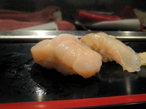EF Tsukiji Fish Market, Day 1, Hotate (scallop) and fluke nigiri